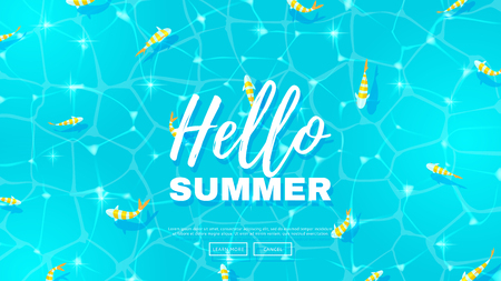 Blue background on the sea topic. Vector illustration. Hello Summer Holiday backdrop.