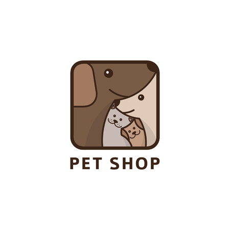 Vector illustration with dogs and cat in linear style. Symbol concept of veterinary clinic.