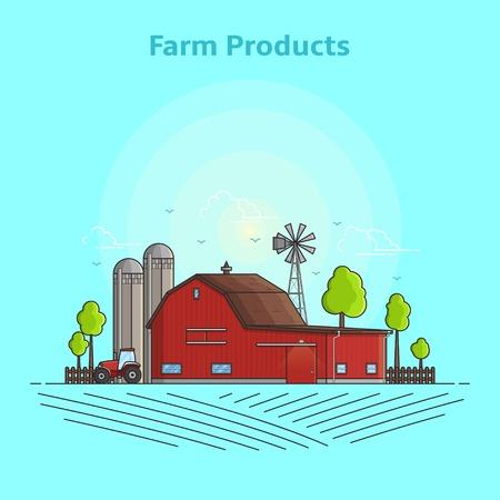 labranza: Ilustración vectorial de color en estilo lineal con edificios de granja.