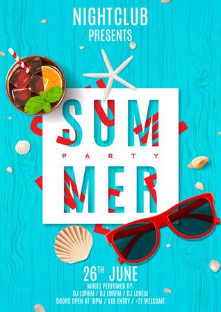 Hoogste mening over zeeschelpen, zonnebril en verse cocktail op houten textuur. Vector illustratie. Uitnodiging voor nachtclub.