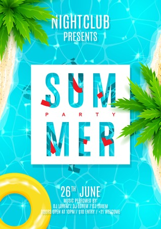 Beautiful background with top view on sea, sea shore and palm trees. Vector illustration. Invitation to nightclub.