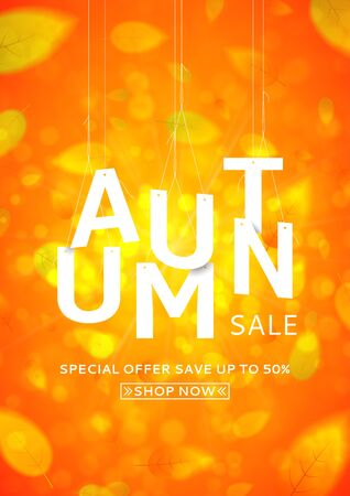 Oferta estacional con descuentos Fondo naranja brillante con las hojas que caen Ilustración vectorial con letras blancas papper.