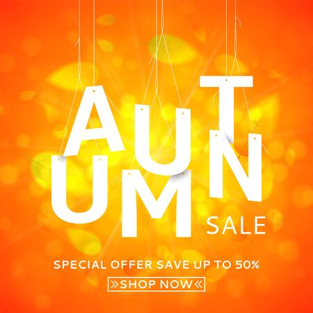 end month: Bright orange background with the falling leaves. Vector illustration with papper white letters. Seasonal offer with discounts. Illustration