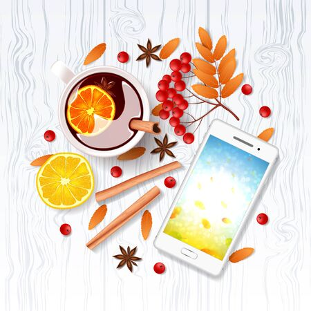 Top view on composition with cup of mulled wine, cinnamon sticks, rowan, and orange. Vector illustration. Ilustracja
