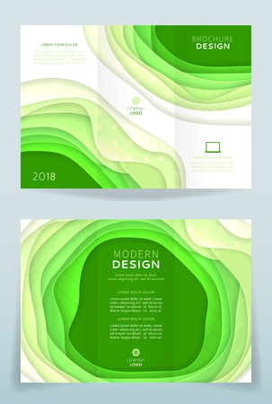 Corporate green and white tri fold brochure template with abstract cut paper.