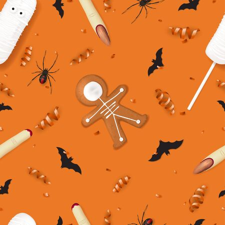 Vector illustration with cookies in form of skeleton gingerbread man. Top view on spiders, paper bats and confetti on orange backdrop. Illustration