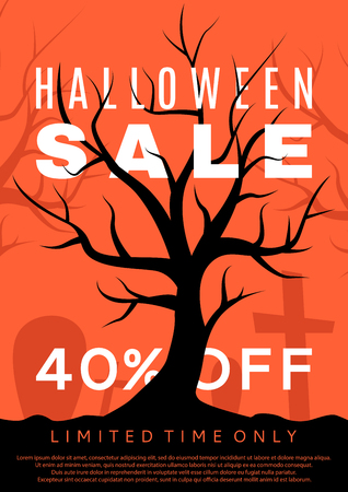 advertizing: Vector illustration. Black poster with seasonal discount offer. Halloween greeting card.