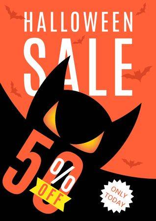 intertainment: Black poster with seasonal discount offer. Halloween greeting card. Vector illustration.