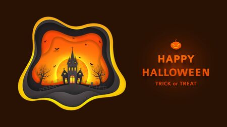 Creative background with elements are layered separately. Paper art style vector illustration. Festive banner with terrible castle and bats. Illustration
