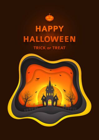 night out: Creative background with elements are layered separately. Paper art style vector illustration. Festive banner with terrible castle and bats. Illustration