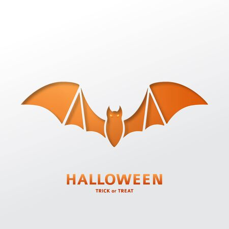 night out: Paper art style vector illustration. Festive banner with bat.