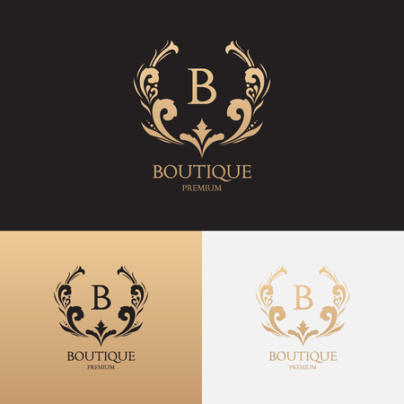 Vector symbol with crown and floral ornament. Logotype for uses in fashion spheres, hotel and restaurant business and jewelry industry.