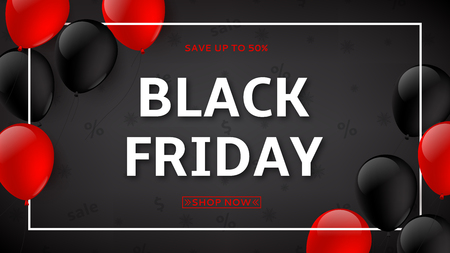 Dark background with red and black friday  balloons for seasonal discount offer. Vector illustration.