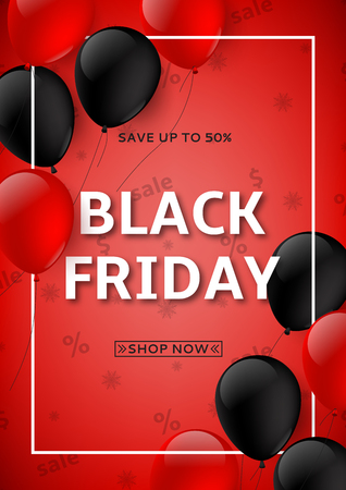 Red background with red and black balloons for seasonal discount offer. Vector illustration. Illustration