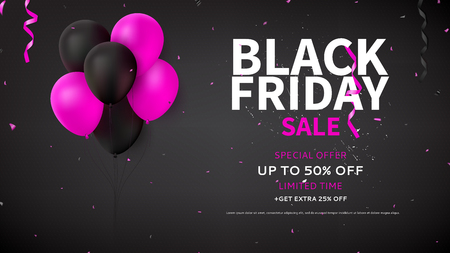 Dark background with pink and black balloons for seasonal discount offer. Vector illustration with confetti and serpentine. Illustration
