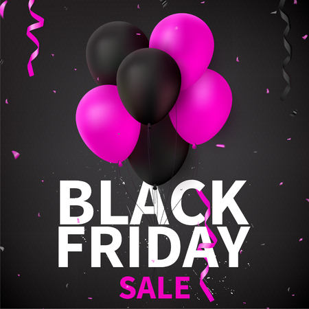 holiday shopping: Pink and black balloons for seasonal discount offer.