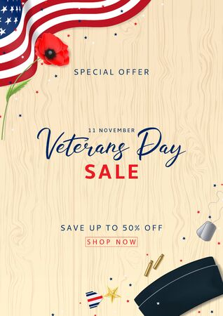Holiday Backdrop with USA Flag and Red Poppy. Top View on Sleeves, Medal, Soldier Tag and Cap on wooden texture. Vector Illustration with Confetti.