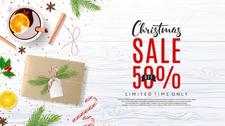 Top View on Festive Decoration with Paper Gift Boxes for Happy New Year. Vector Illustration with Discount Sale. Greeting Card with Lettering.