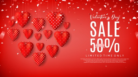 Beautiful Background with Realistic Symbols of Valentines Day and Confetti on Red Background. Vector Illustration with Seasonal Offer.