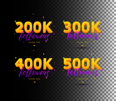 Colored number and text Lettering and Confetti Vector Illustration