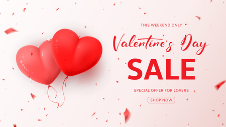 Promo Web Banner for Valentines Day Sale.
