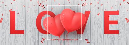 ハッピーバレンタインデーのためのお祝いのウェブバナー。木製の質感に紙吹雪と現実的なピンクの気球と美しい背景。ベクトルイラストレーショ