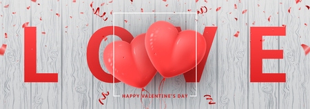 Festive Web Banner for Happy Valentine's Day. Beautiful Background with Realistic Pink Air Balloons with Confetti on Wooden Texture. Vector Illustration. Vectores