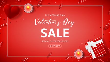 Red Banner for Valentines Day Sale. Top view on composition with gift box, case for ring, candles and confetti on Red Background. Vector illustration with Seasonal Discount Offer. Illustration