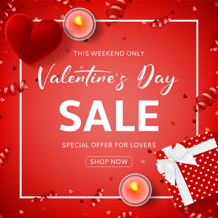 Red promo background for Valentine's Day sale. Top view on composition with gift box, case for ring, candles and confetti on red backdrop. Vector illustration with seasonal discount offer.