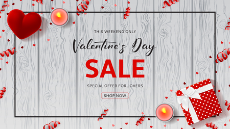 Happy Valentines Day Sale Web Banner. Top view on composition with gift box, case for ring, candles and confetti on Wooden Texture. Vector illustration with Seasonal Discount Offer. Ilustração