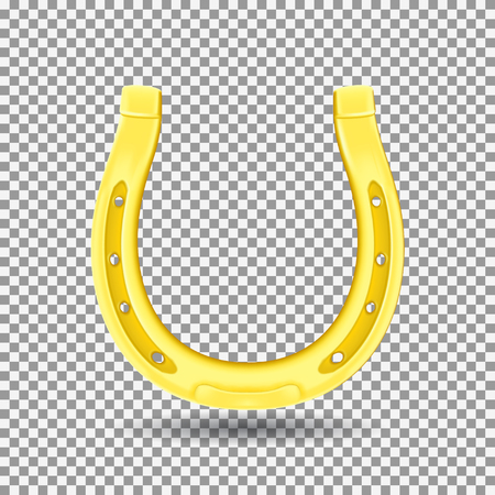 Golden Horseshoe Isolated on Transparent Backdrop. Realistic Goodluck Symbol. Vector Illustration with Icon of St. Patrick's Day.