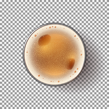 Beer Glass Isolated on Transparent Backdrop. Top view on Realistic Alcohol Drink. Vector Illustration. Vettoriali