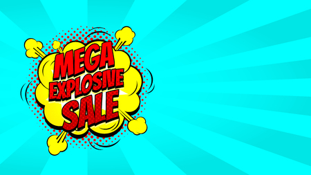 Pop art sale discount promo banner. Decorative blue background with explosive speech bubbles. Vector illustration with advertising offer. Vettoriali