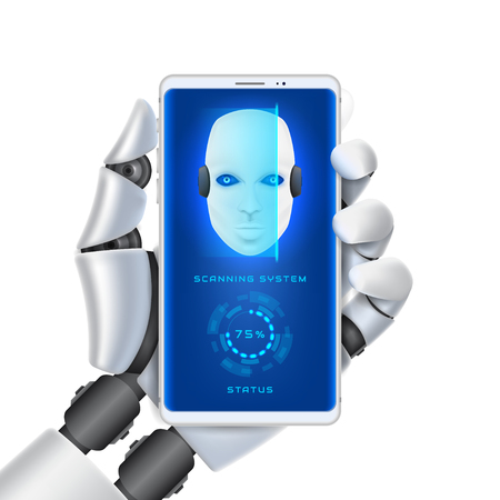 Concept of scanning system of robot cybernetic organism. Arm with smartphone of mechanical humanoid isolated on white background. Vector illustration.