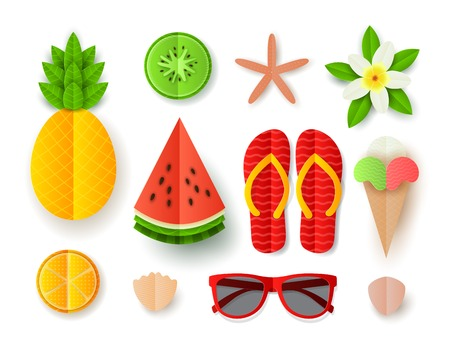 Set of Summer elements. Collection of flat paper cut elements isolated on white backdrop. Vector illustration with tropical fruit, ice cream, seashells, flip flops, sunglasses and flower. Illustration