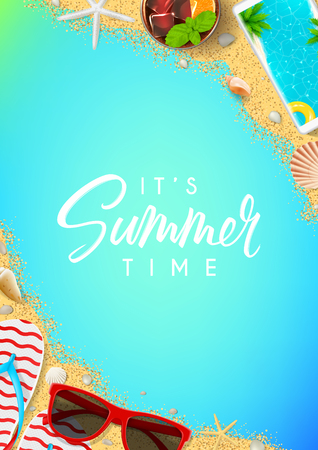 Beautiful summer vacation background in top view  illustration.