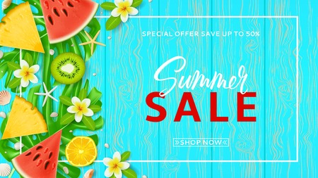 Promo web banner template for summer sale. Top view on Summer composition with tropical fruit and plumeria flowers on wooden texture. Vector illustration with special discount offer.