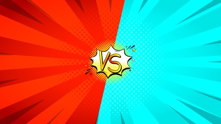 Versus letters fight backdrop. Vector illustration with speech bubble. Decorative red and blue background with bomb explosive in pop art style.
