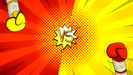 Versus letters fight background. Vector illustration with hands of boxers. Decorative red and yellow banner with bomb explosive in pop art style. Vettoriali