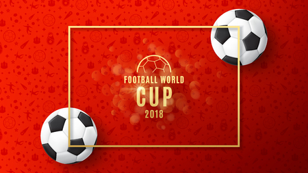 Red background of football championship with realistic soccer balls. Vector illustration. Çizim