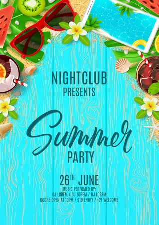 Beautiful flyer for summer party. Top view on Summer decoration with cocktails and fresh fruit on wooden texture. Vector illustration. Invitation to nightclub. Stock Illustratie