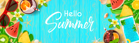 Hello Summer web banner. Top view on summer composition with realistic objects and tropical fruit on wooden texture. Vector illustration. Concept of seasonal recreation in tropical countries.
