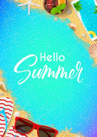 Hello Summer flyer template. Top view on summer composition with realistic objects on color background. Vector illustration. Concept of seasonal recreation in tropical countries. Illustration