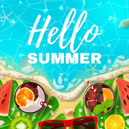 Beautiful card with inscription Hello Summer. Top view on Summer decoration with realistic objects on beach. Vector illustration. Concept of seasonal vacation in tropical country. Vettoriali