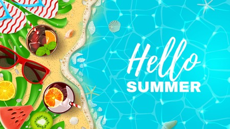 Beautiful banner with inscription Hello Summer Vectores