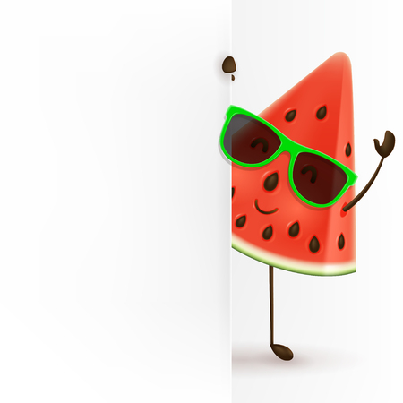 Cute watermelon character stands with blank signboard.