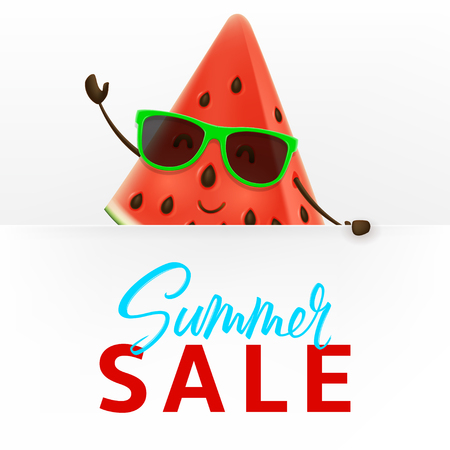 Cute watermelon character with white signboard. Vector illustration of cartoon slice of tropical fruit. Summer sale promo banner. Stock Illustratie