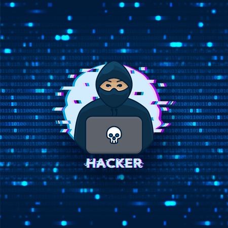 Hacker logo template. Symbol of digital thief with laptop. Hacker icon. Vector illustration with binary code background.