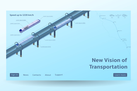 Isometric Hyperloop transport concept. Vector illustration with future transportation and the fastest trains. Futuristic high-speed transport concept. Illustration