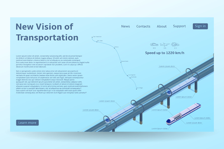 Isometric Hyper loop transport concept banner. Vector illustration with future transportation and the fastest trains. Futuristic high-speed transport concept.